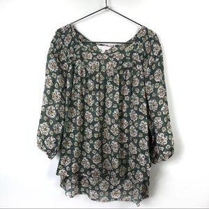 🐱 LC Lauren Conrad Green Floral Print Blouse